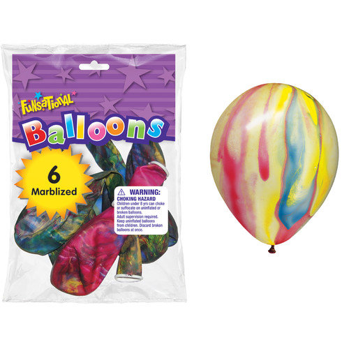 Pioneer 12'' Marbleized Funsational Balloon  (Set of 6)