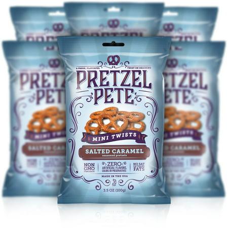 Pretzel Pete Mini Twist Pretzels, Salted Caramel, 3.5 Oz, Pack of 6