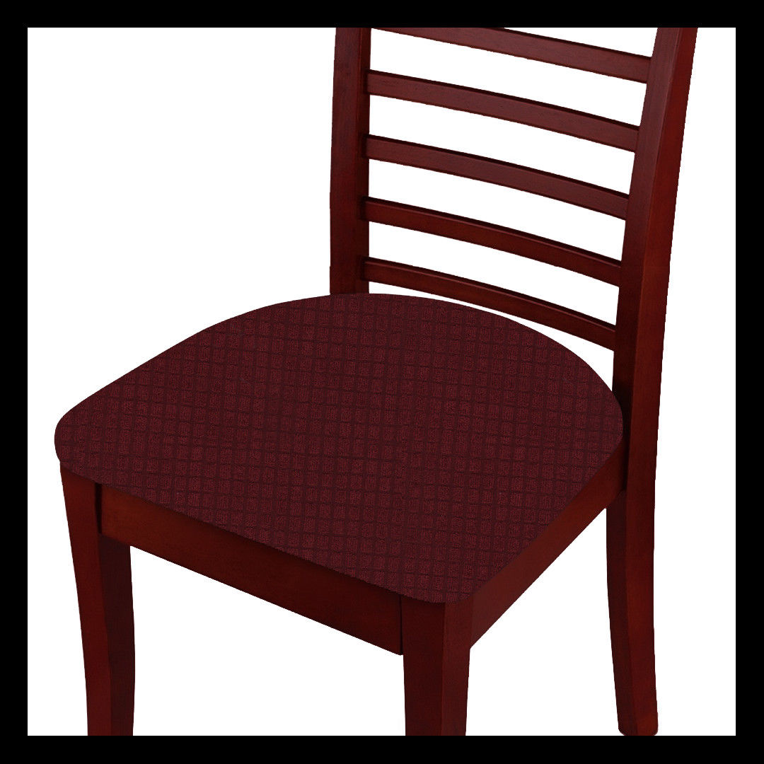 Fancy Linen 2pc Dining Chair Pad Cover Set Waterproof Stretchable Solid Burgundy New