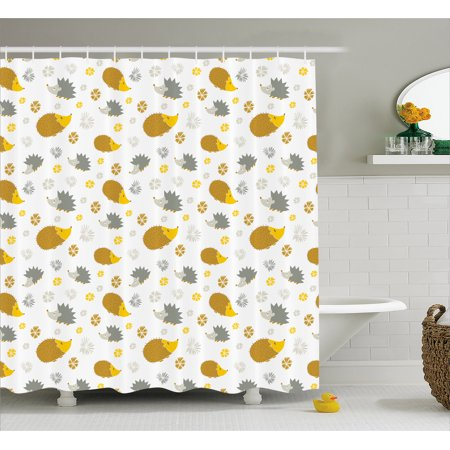 Hedgehog Shower Curtain Autumn In Woods Theme Different Wildlife Mascots With Little Flowers Fabric