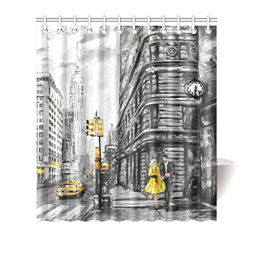 MKHERT Vintage Street View of NYC New York City Yellow Taxi Decor Waterproof Polyester Bathroom Shower Curtain Bath 66x72 inch