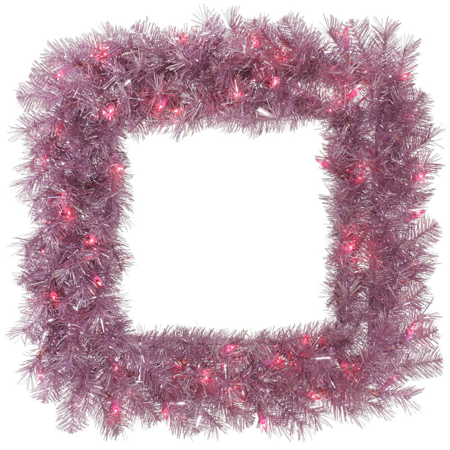"30"" Pre-Lit Square Orchid Pink Tinsel Artificial Christmas Wreath - Pink Lights"