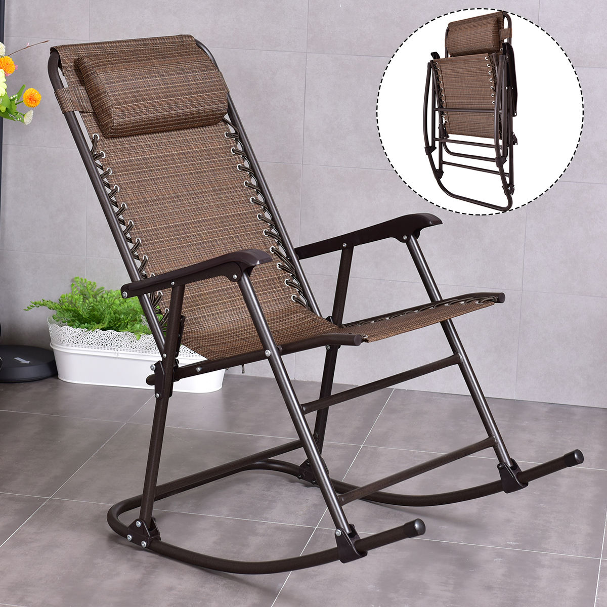 folding rocking chair costway folding rocking chair porch patio indoor foldable 29468