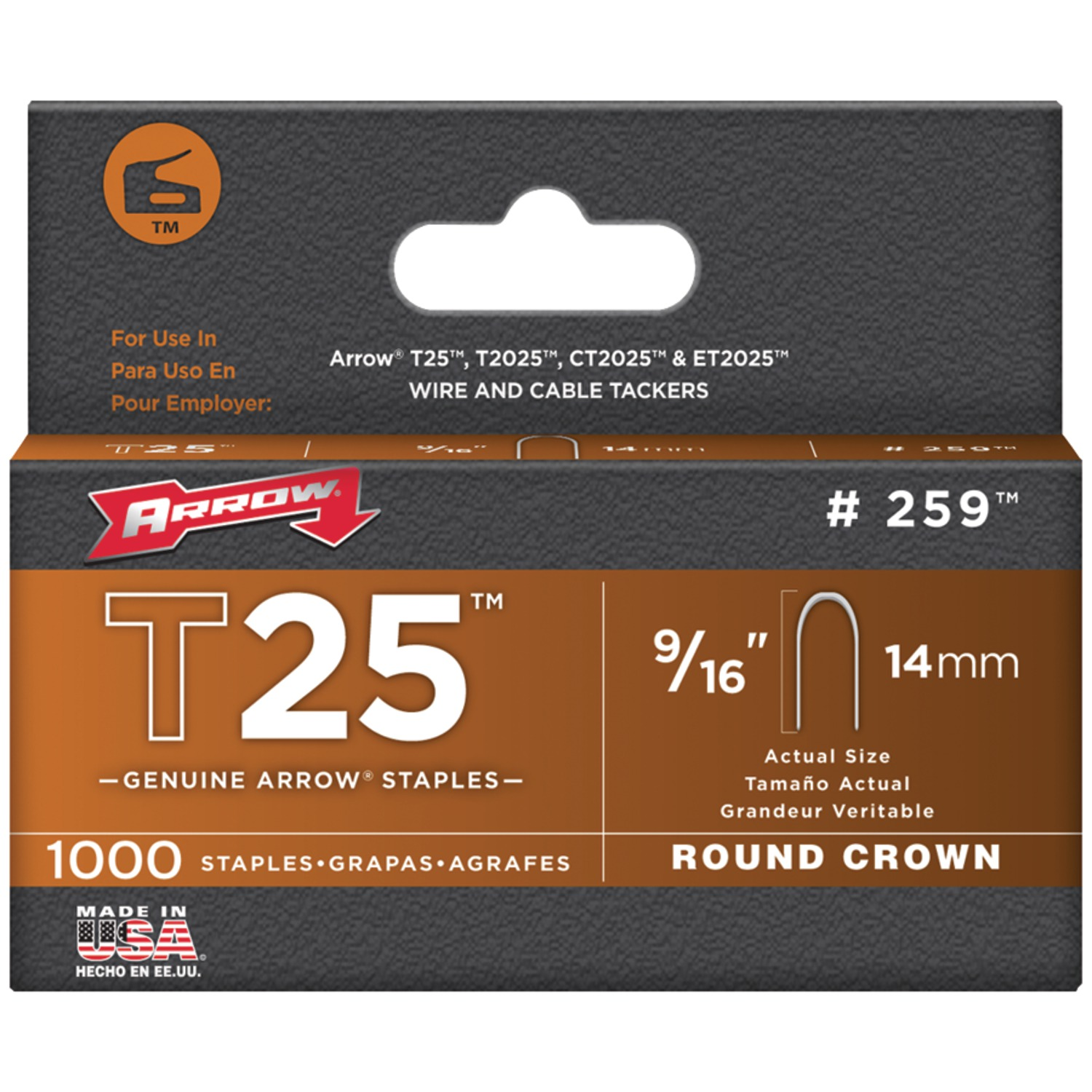 Arrow T25 Round Crown 9/16 in. Staples