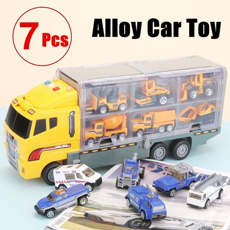 4 Pattern 7 Pcs Construction Site Vehicles Toy Set Engineering Truck Models Mini Pocket Size Cars Toy Playset for 3, 4, 5 Year Old Toddlers Boys Girls Kids & - Unique Toys For 2 Year Olds