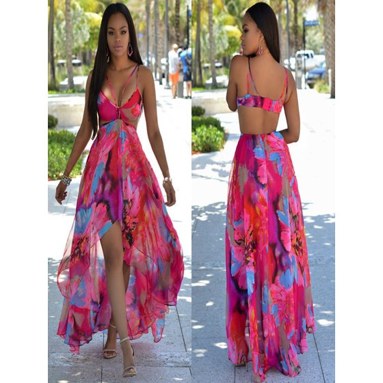 b15ba7c71188cb Kingslim - Summer Soft Chiffon Dress Sexy Beach Split Dress Floral ...
