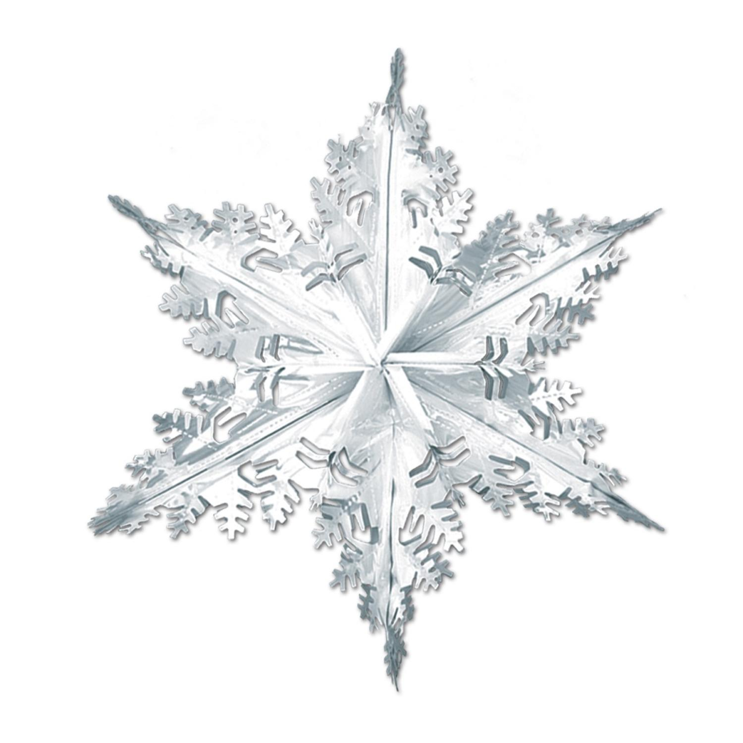 Club Pack Of 12 Metallic Silver Winter Snowflake Hanging Decorations 24 Com