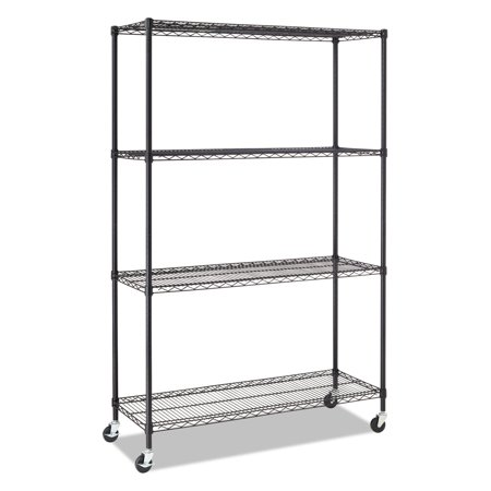 - Alera Complete Wire Shelving Unit with Casters, Four-Shelf, 48