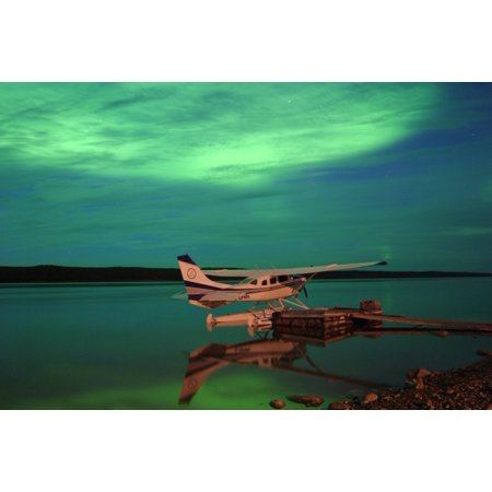 Aurora Borealis Or Northern Lights Over Float Plane And Mackenzie River Fort Simpson Northwest Territories Stretched Canvas - Robert Postma  Design Pics (17 x 11) 17 Phillip Rivers Light