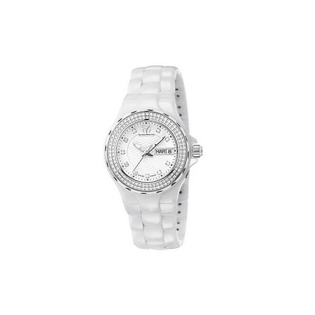 Cruise White Dial White Ceramic Ladies Dress (Ladies White Dial Dress Watch)