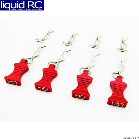 Hot Racing AC03EZ02 1/10 Red Aluminum EZ Pulls (4) Body Clips -