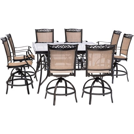 Image of Hanover Fontana 9-Piece Counter-Height Outdoor Dining Set with 8 Sling Swivel Chairs and a 60-In. Square Glass-Top Table