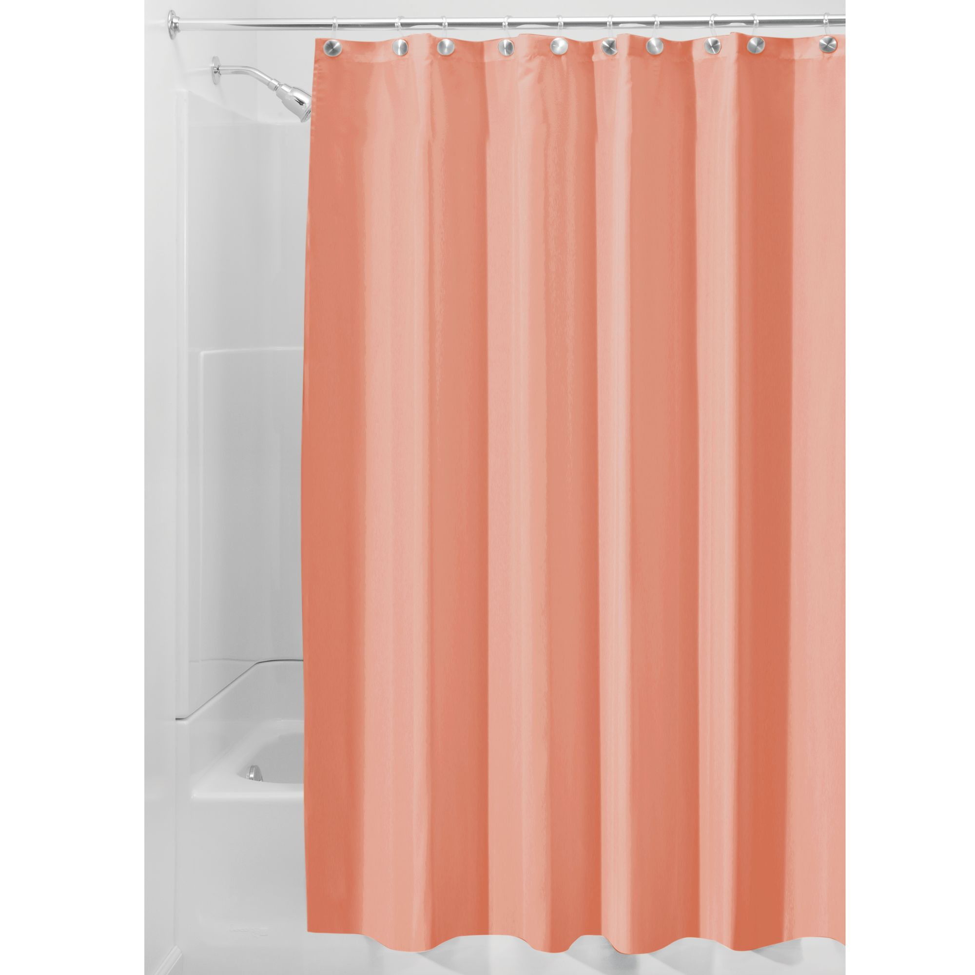 Interdesign Waterproof Fabric Shower Curtain Liner Standard 72 X 72 Coral Walmart Com Walmart Com