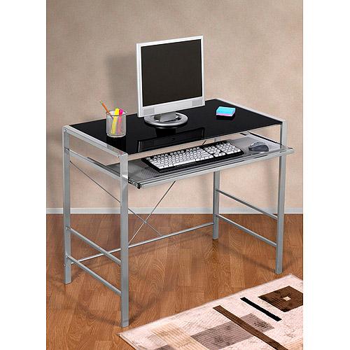 Mainstays Glass-Top Desk, Multiple Colors