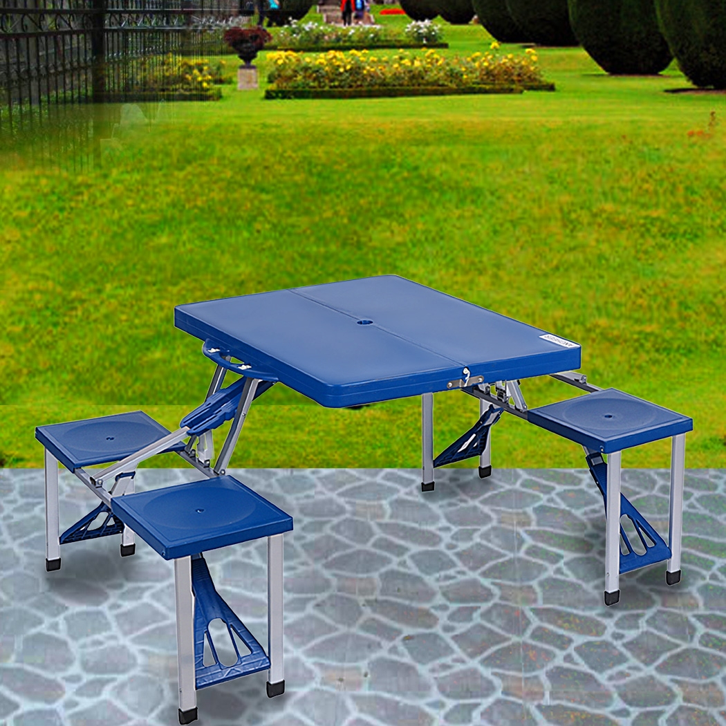 Ancheer Portable Folding Outdoor Camp Suitcase Picnic Table 4 Seats Blue by