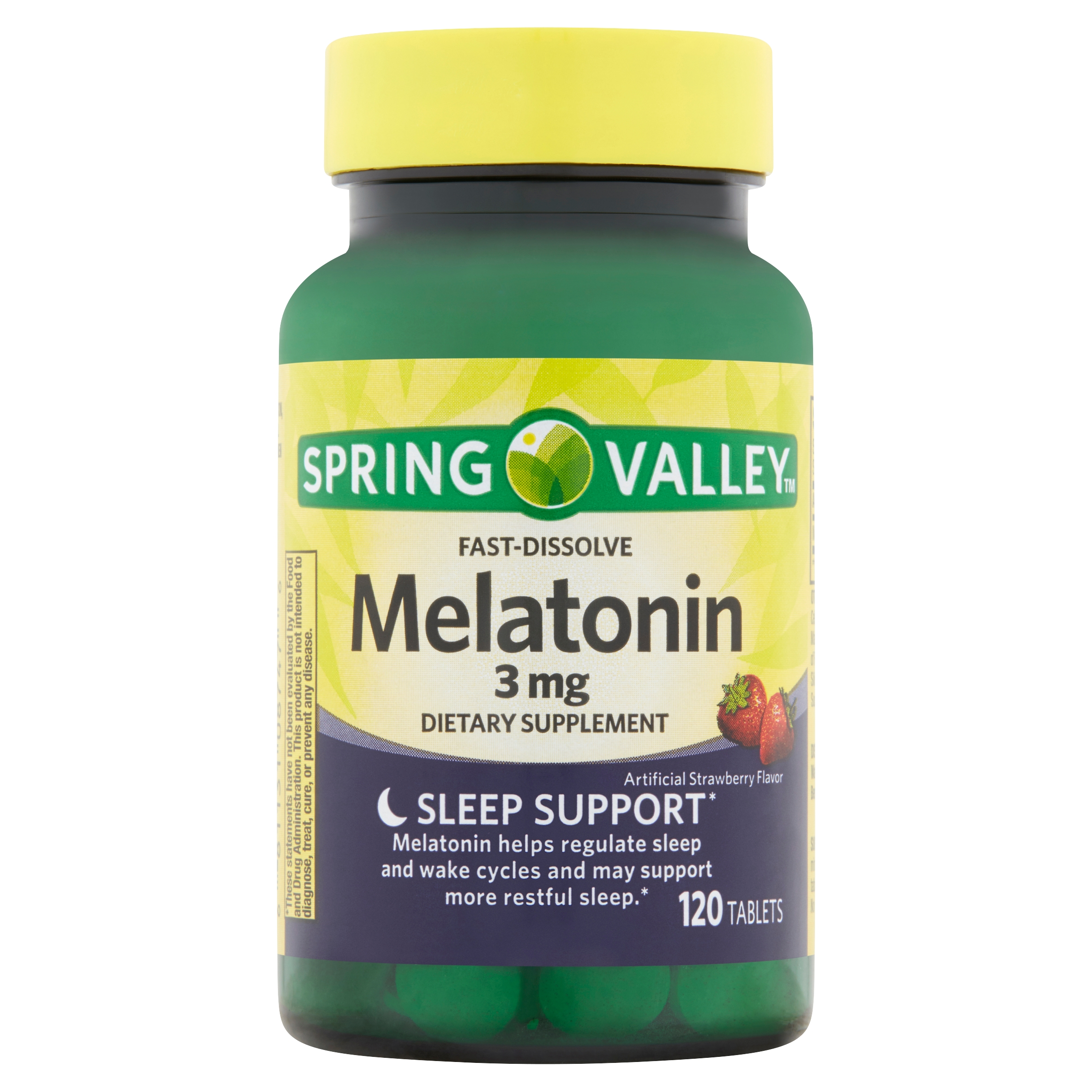 Spring Valley Fast-Dissolve Melatonin Tablets, 3 mg, 120 count -  Walmart.com - Walmart.com