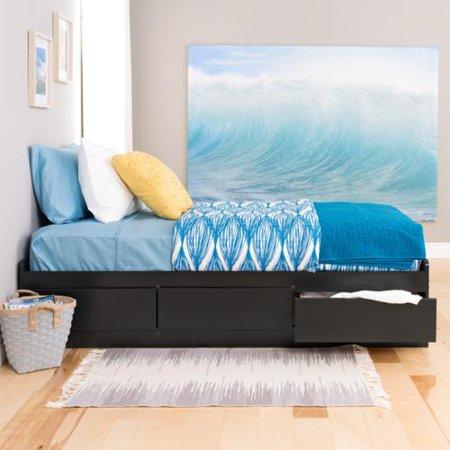 Prepac Black Twin Mate's Composite-Wood Platform Storage Bed with Three