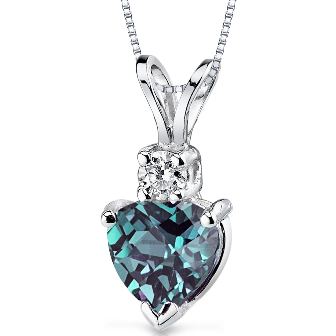 Peora 1.00 Ct Heart Shape Created Alexandrite 14K White Gold Pendant with Diamond Accent, 18""