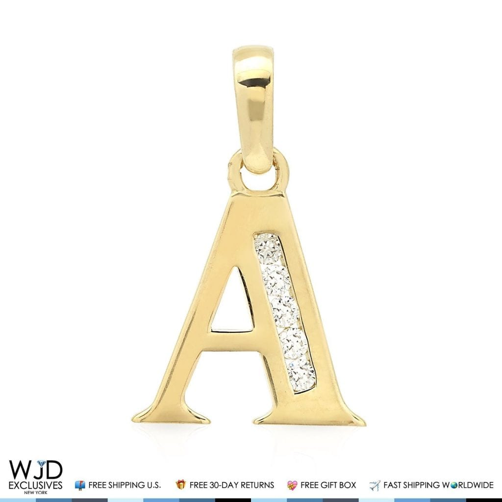 14k Yellow Gold 0.25Ct Created Diamond Initial Alphabet Letter Tag Pendant