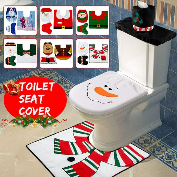 Santa Toilet Seat Cover 3pcs Set Christmas Toilet Seat Cover And Rug Set Santa On The Toilet Ornament Santa Claus Toilet Seat For Happy Christmas Decorations Bathroom Decor Walmart Com Walmart Com
