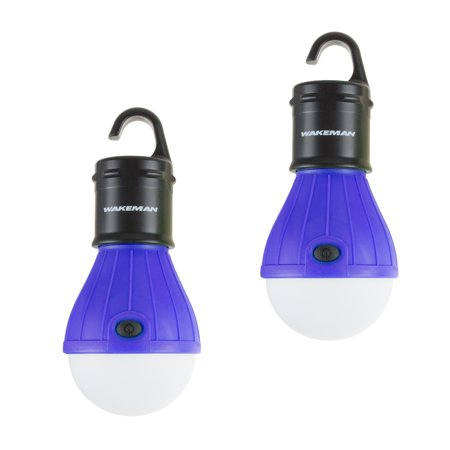 Portable LED Tent Light Bulb- 2 Pack Hanging Lights with 3 Settings and 60 Lumen By Wakeman Outdoors (For Camping Hiking Tents and Emergency)