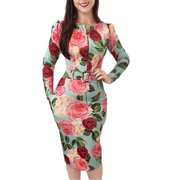 Ladies Spring Dress Retro Floral Print Long-Sleeved Tight Zipper Dress With Belt Party Dress
