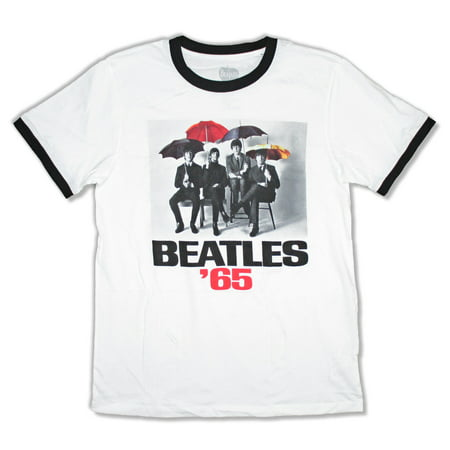 Beatles Color Umbrellas 1965 White Ringer T Shirt