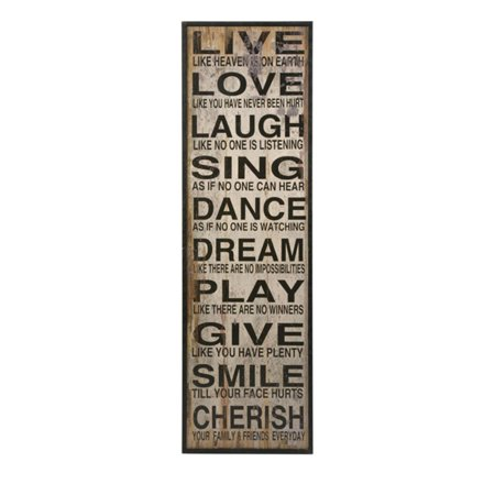 "60.75"" Inspirational and Distressed Black and White Live Love Laugh Home Wall Decor"