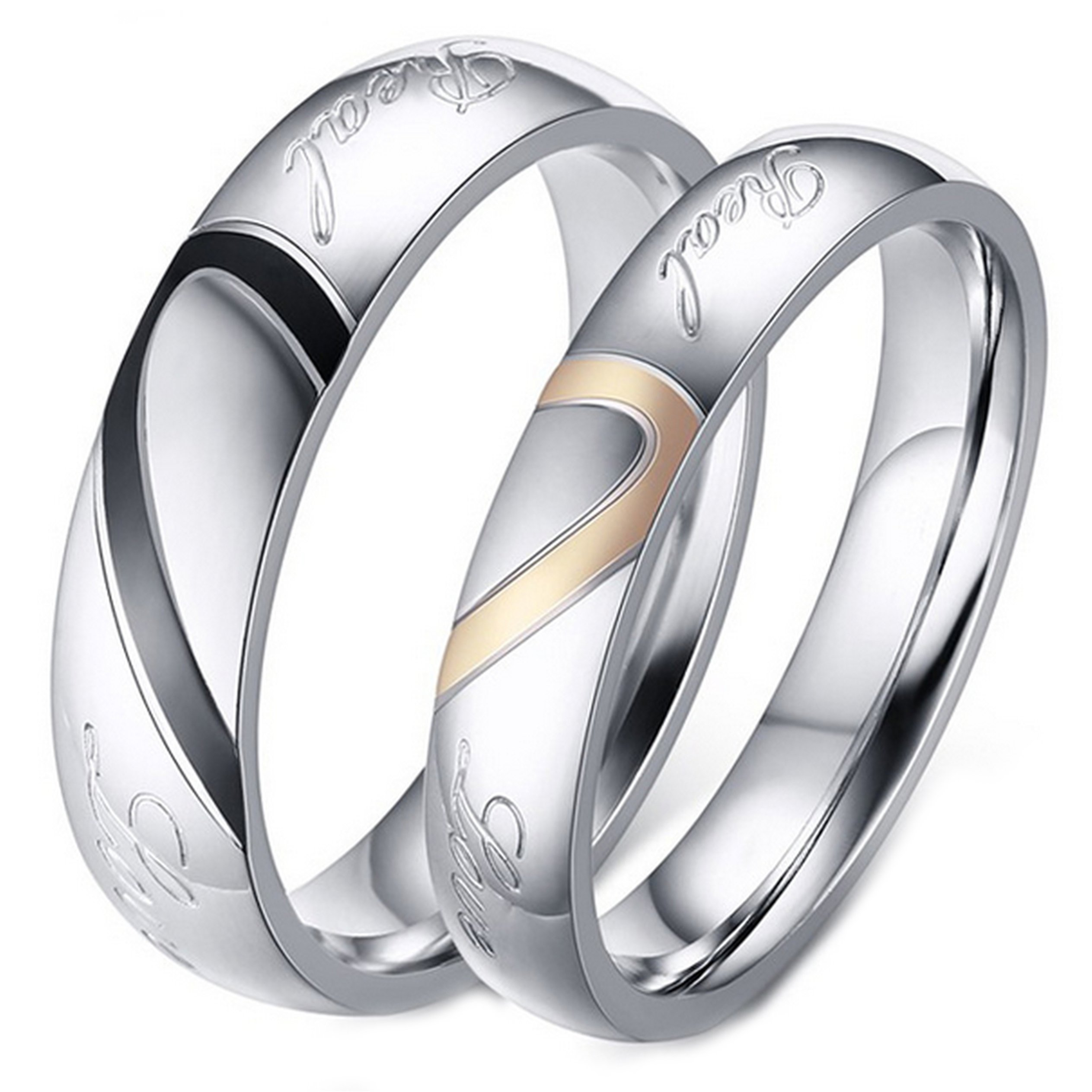 90946e6d3a675 His and Her Real Love Promise Ring, Couple's Matching Heart Wedding Band in  Stainless Steel, for Men and Women, Comfort Fit