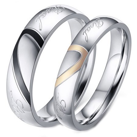 6a01f58106 ArcoIrisJewelry - His and Her Real Love Promise Ring, Couple's Matching  Heart Wedding Band in Stainless Steel, for Men and Women, Comfort Fit -  Walmart.com