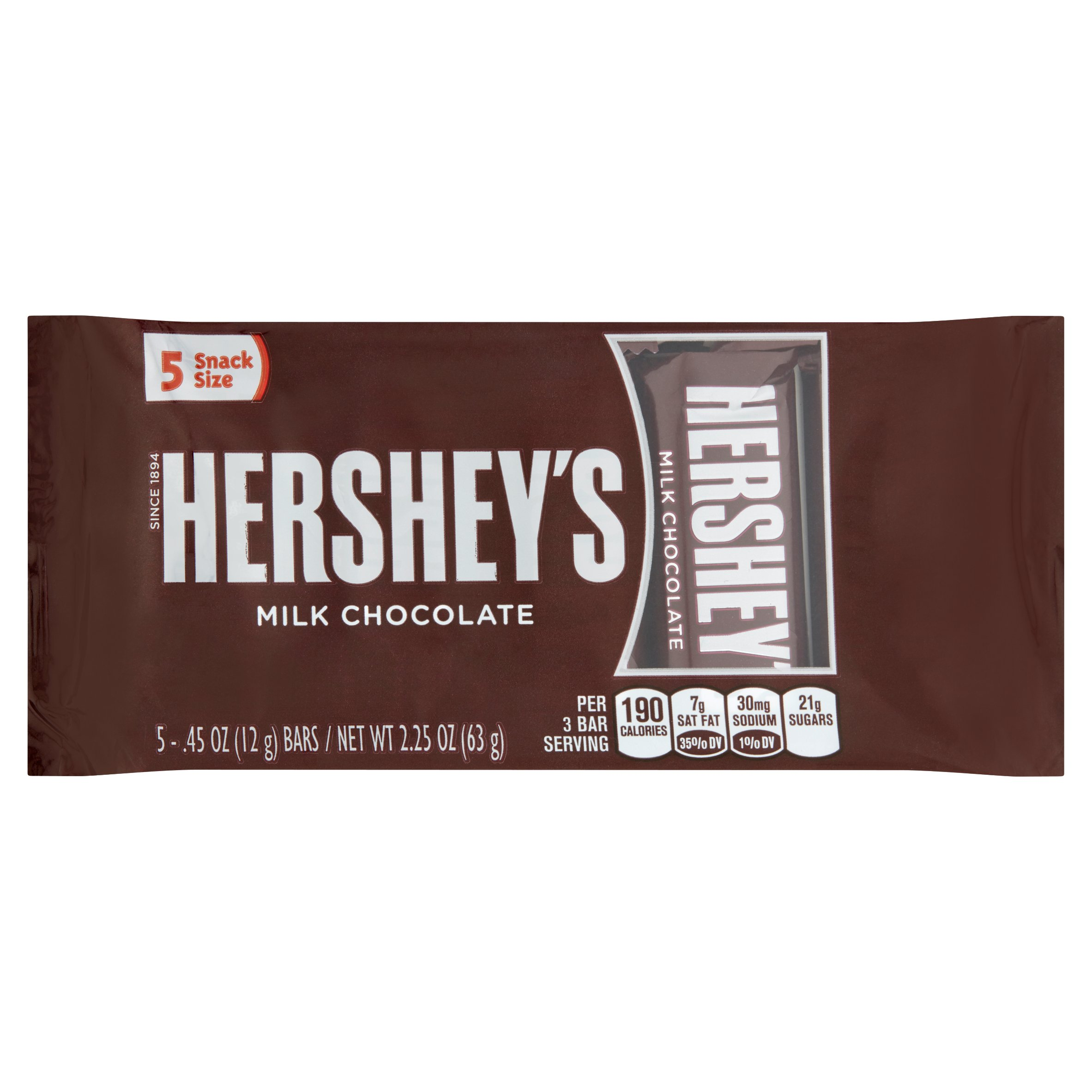 Hershey's Milk Chocolate Bars Snack Size, .45 oz, 5 count by The Hershey Company