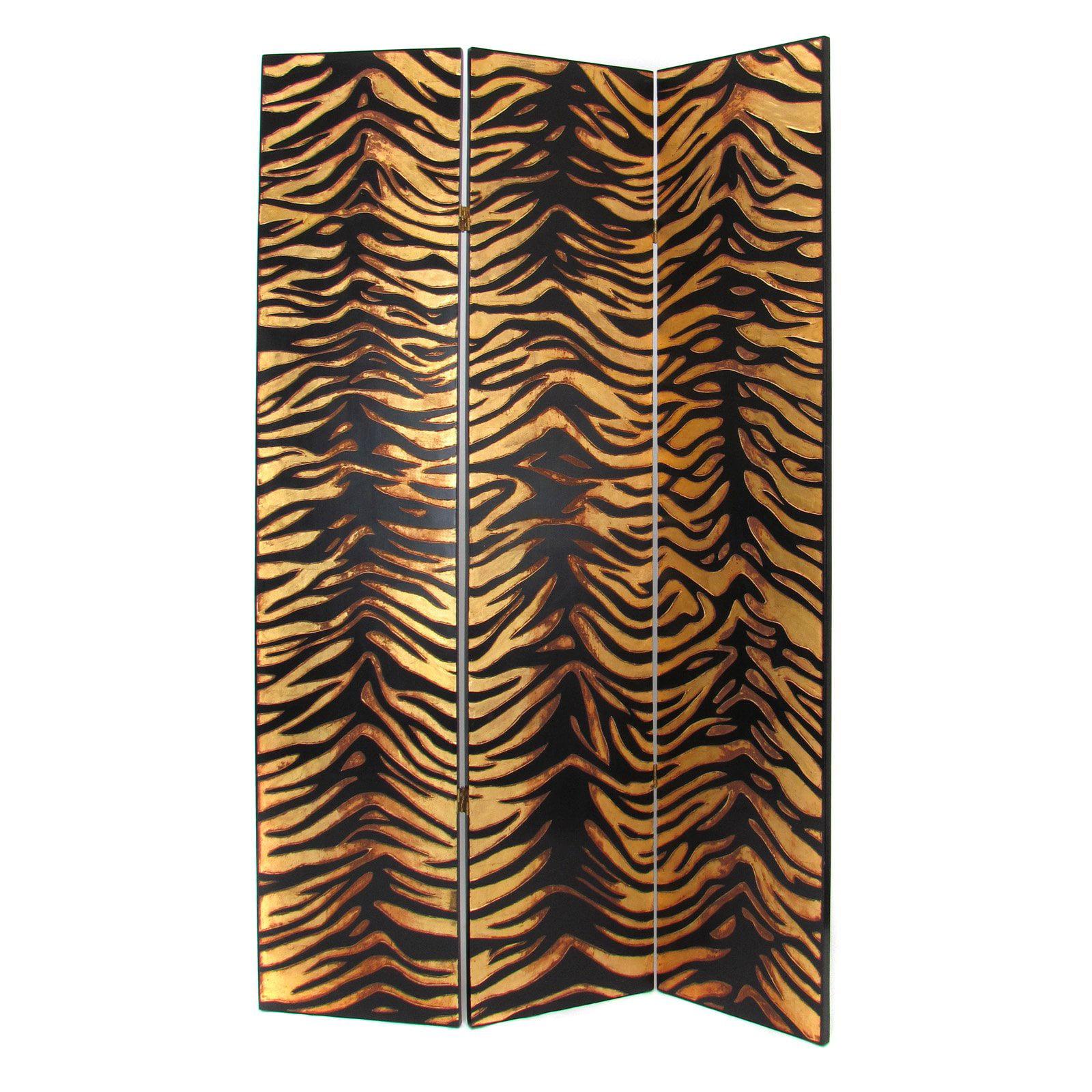 Wayborn 2302X Gold Leaf Zebra Screen Room Divider
