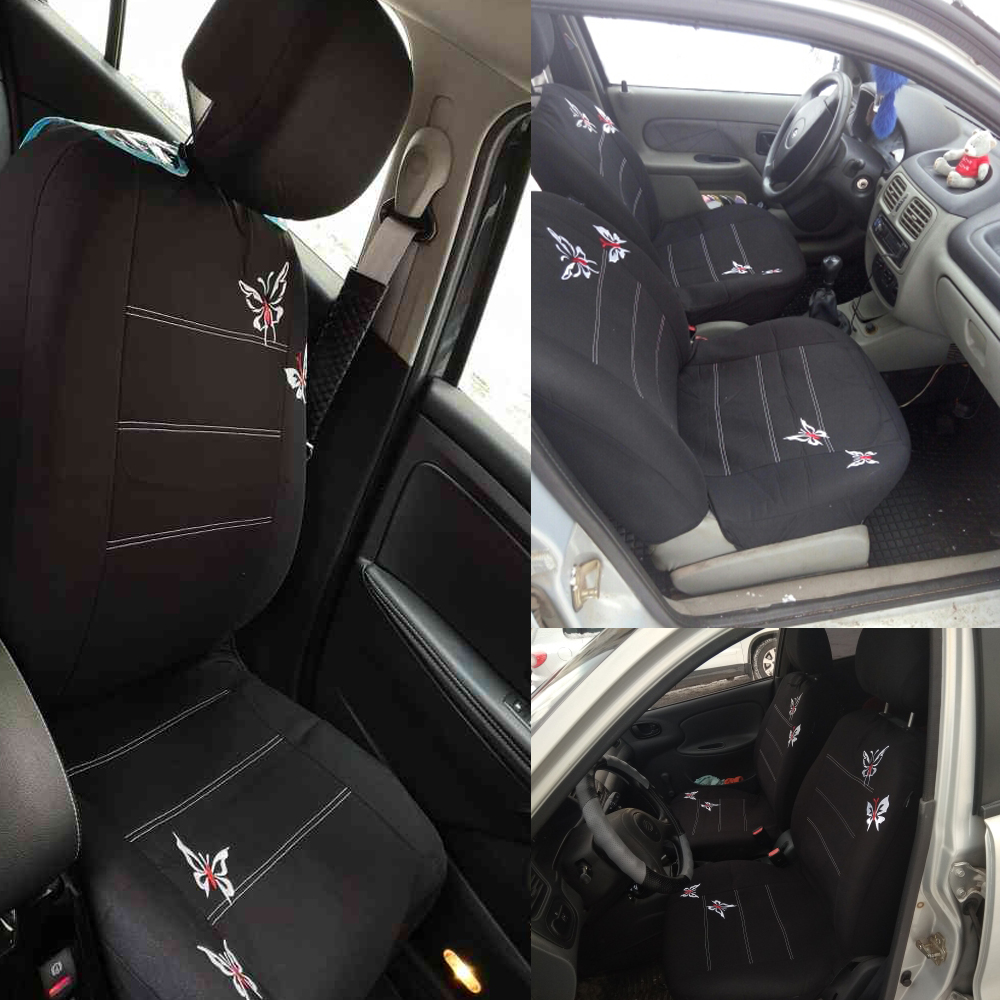 Black 9 Pcs Butterfly Embroidery Car Seat Covers Set For Interior Accessories
