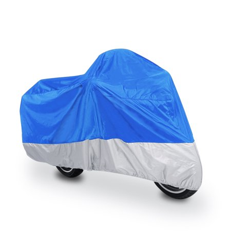 XL Blue+Silver Waterproof Motorcycle Bike Cover Scooter Rain Outdoor Protector