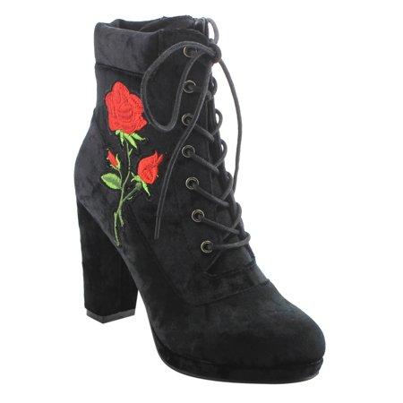 EK57 Women's Lace Up Side Zipper Platform Block Heel Ankle Booties