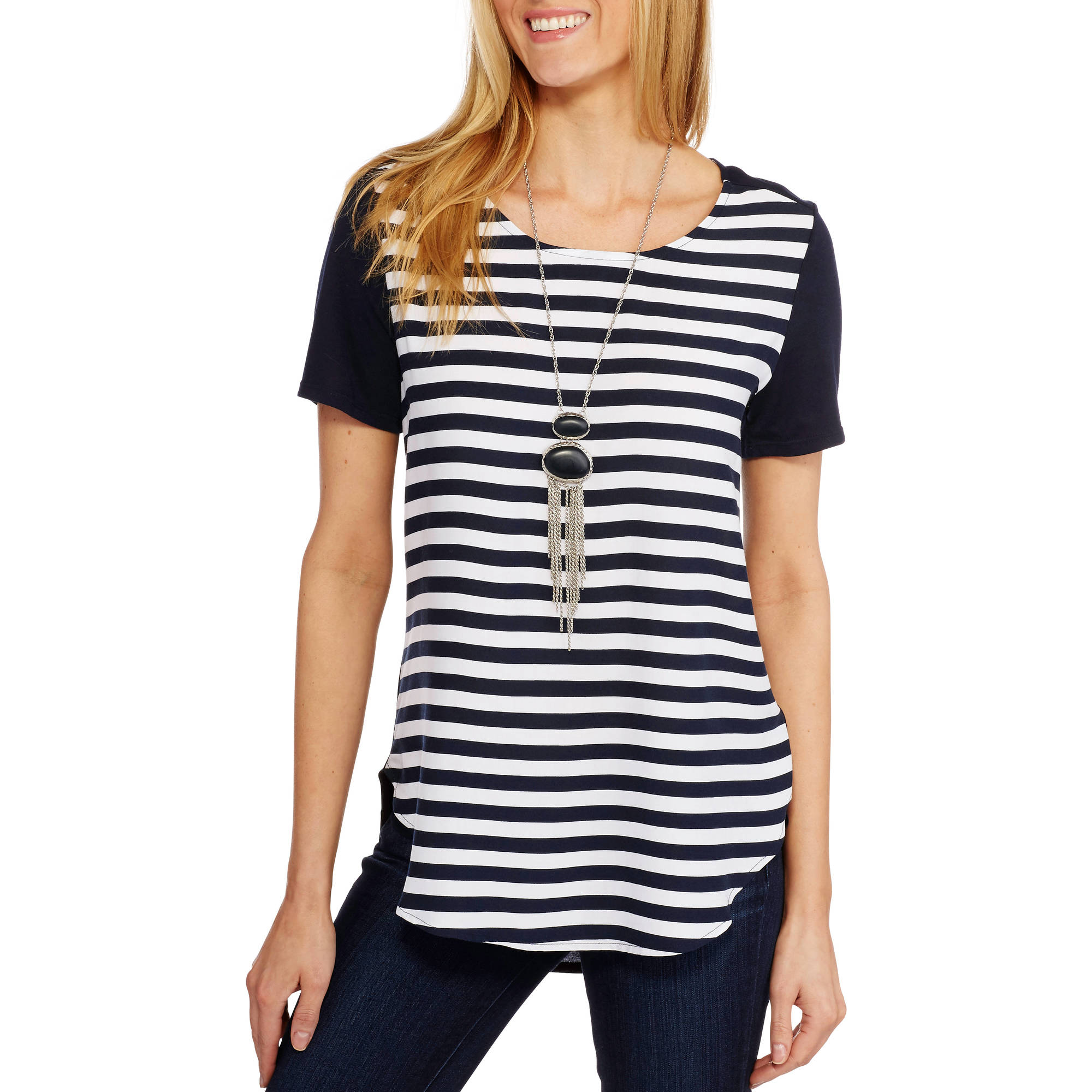 Faded Glory Women's Woven Tunic With Stretch Knit Back