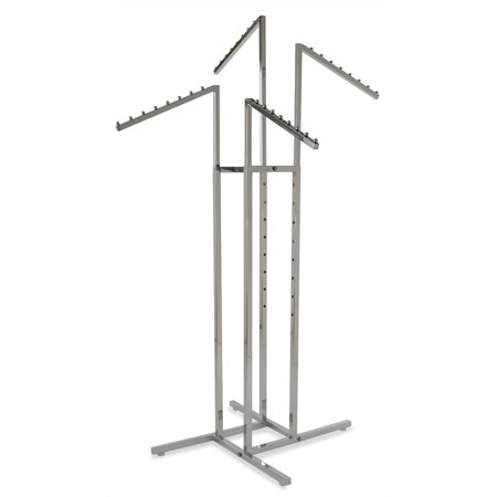 Clothing Rack – Heavy Duty Chrome 4 Way Rack, Adjustable Arms, Square Tubing, Perfect for Clothing Store Display With 4 Slanted Arms Econocos 4 slanted arm clothing rack is the premiere clothing rack for store display! This fixture for clothing has 4 slanted arms. This allows for any store to place their clothing on this clothing store display rack any way that best fits their needs. With the arm height being adjustable on this clothing rack it allows the customer to put the arm anywhere from 48 to 72 with 3 increments. Not only does this 4-arm clothing rack have adjustable arms but it is chrome plated for the ultimate showroom look. With this clothing store display rack being chrome it adds to the ambiance of any store or boutique that you choose to place this clothing rack. With the clothing rack weighing 32 pounds you can rest assured no matter where you place this clothing rack that it will stay put where it is meant to. Comes with adjustable levelers for uneven floors so your rack stays exactly where it should no wobbling. With this clothing store rack having four arms you can easily place a dozen items of clothing on this rack, and have it displayed and readjusted to whatever needs fit your store the best!