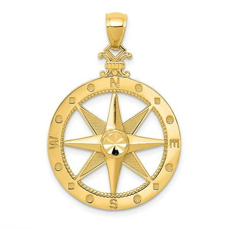 Roy Rose Jewelry 14k Yellow Gold Diamond-cut Polished & Satin Compass Pendant
