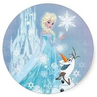 """Frozen Elsa Olaf Edible Frosting  Image Cake Topper 8"""" Round*"""