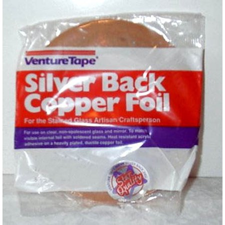 1/4 Inch Silver Backed Copper Foil, 1/4 inch silver backed adhesive copper foil By Venture Ship from - Venture Copper Foil