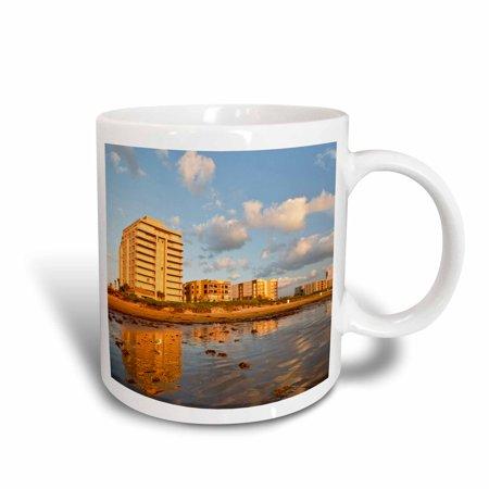 - 3dRose Resort hotels, beach, South Padre Island, Texas - US44 LDI0335 - Larry Ditto, Ceramic Mug, 15-ounce