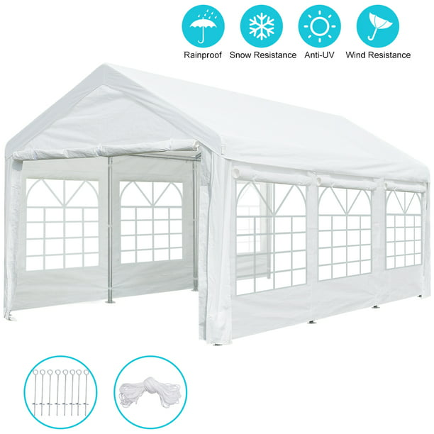 10 X 20 Ft Heavy Duty Carport Car Canopy Garage Shelter Tent With Removable Window Sidewalls And Doors White Walmart Com Walmart Com