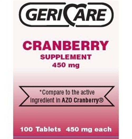 Gericare Cranberry Supplement Pills 450 Mg, 100 Tablets