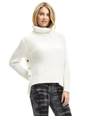 Scoop Ribbed Turtleneck Sweater with Side Buttons Women's