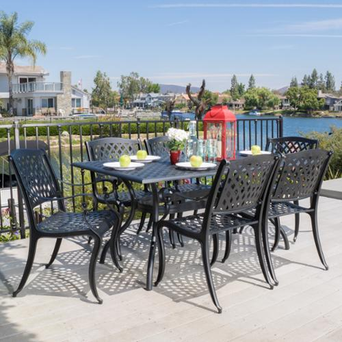 Christopher Knight Home Outdoor Cayman 7 Piece Cast Aluminum Black Sand  Dining Set By