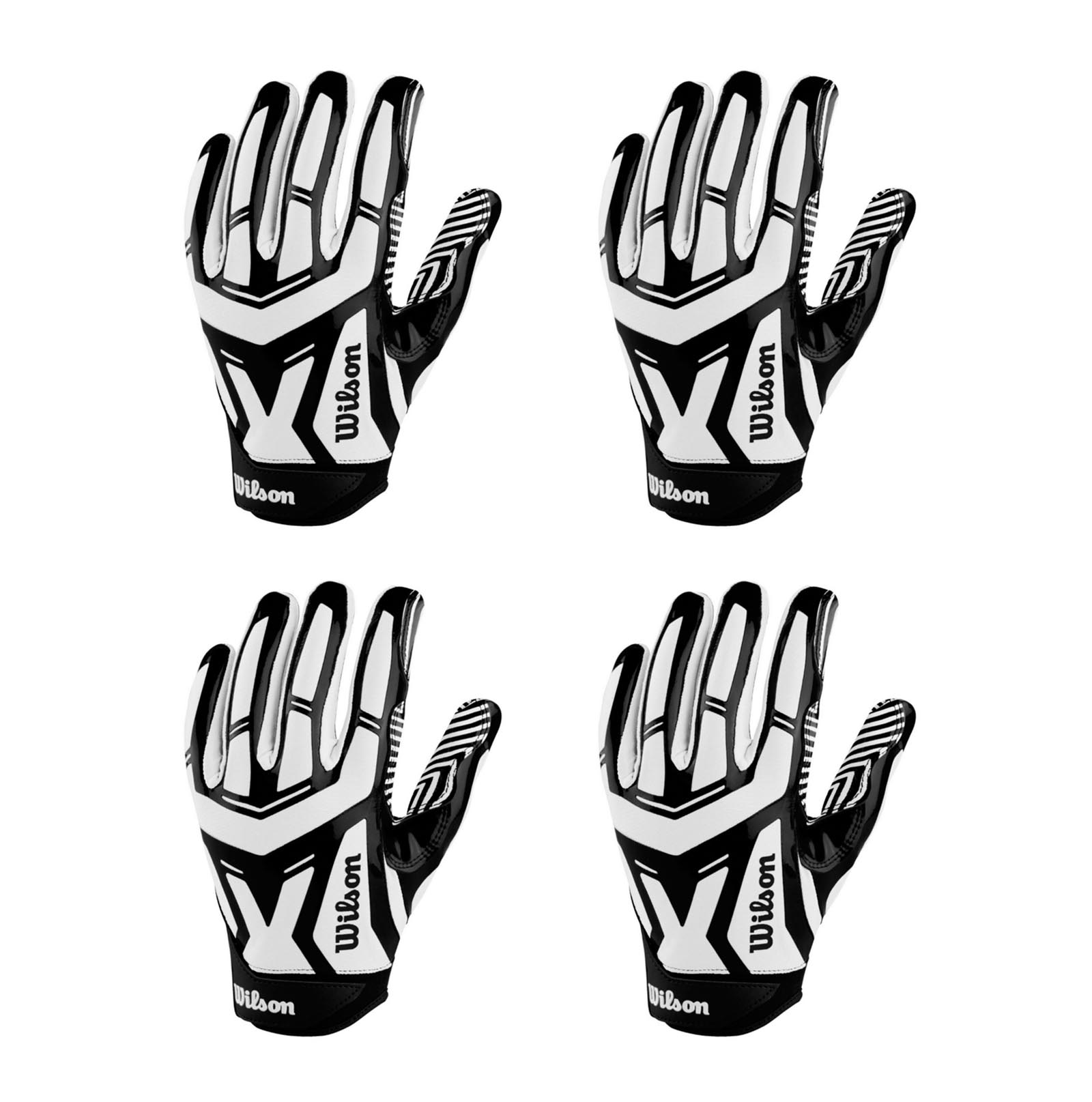 4) Wilson Authority Skill WR RB DB QB Receiver Football Gloves | Adult 2XLarge