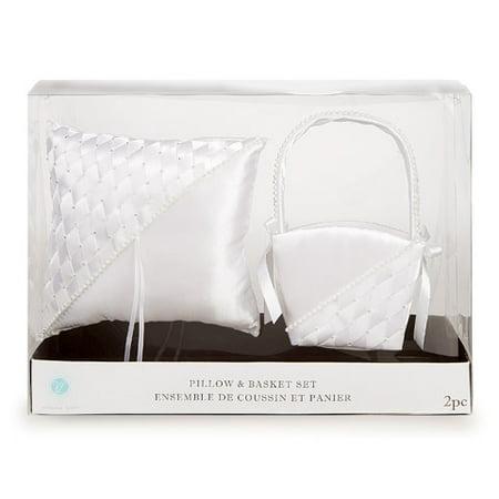 Victoria Lynn Flower Basket & Ring Pillow Set - Woven - White