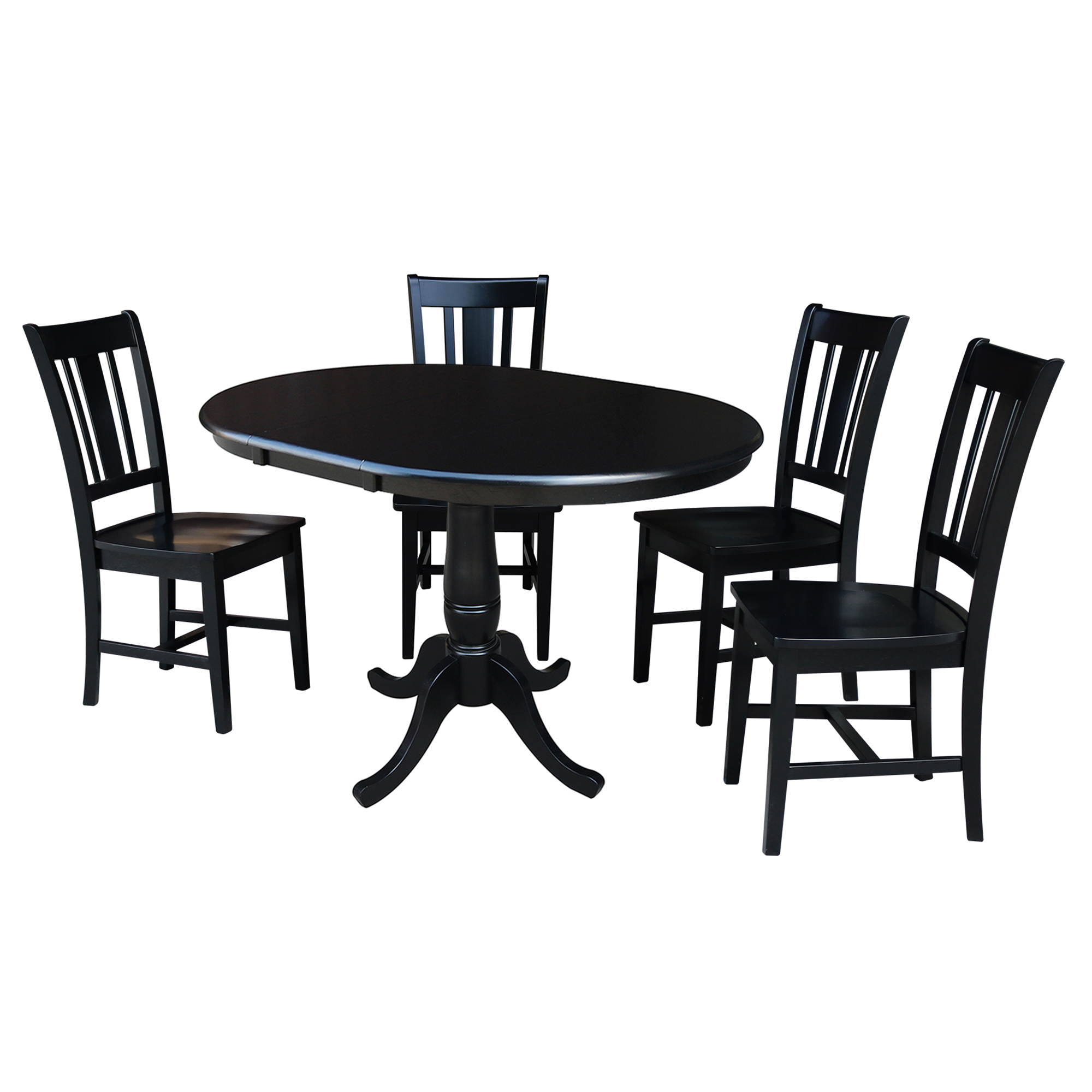 "Large Round Dining Table Seats 12: 36"" Round Dining Table With 12"" Leaf And 4 San Remo Chairs"