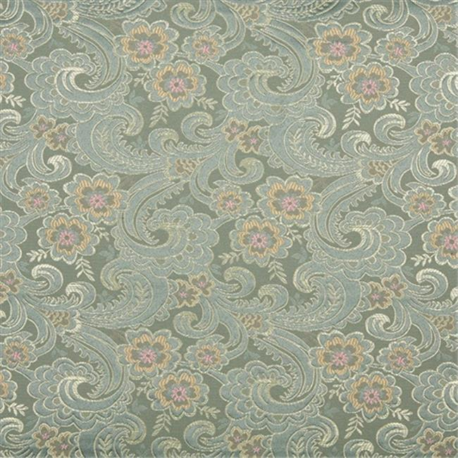 Designer Fabrics D122 54 in. Wide Gold, Pink And Blue, Paisley Floral Brocade Upholstery Fabric