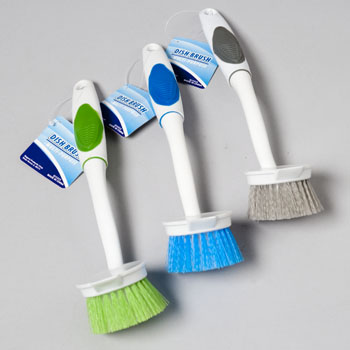 DISH BRUSH ROUND 10IN PLASTIC 3ASST COLORS CLEANING HANGTAG, Case Pack of 48